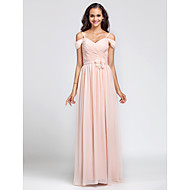 Floor-length Chiffon Bridesmaid Dress Sheath / Column Off-the-shoulder / Spaghetti Straps Plus Size / Petite withDraping / Flower(s) /