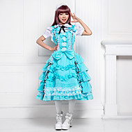 Sweet Candy Sleeveless Knee-length Sky Blue Cotton Lolita Dress with Bow