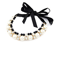 Women's Fashion Gorgeous Ribbon Shine Alloy Necklace With Imitation Pearl