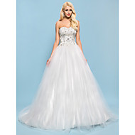 Lanting Bride® Ball Gown Petite / Plus Sizes Wedding Dress - Chic & Modern / Elegant & Luxurious Sparkle & Shine Chapel Train Sweetheart