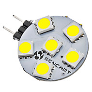 G4 1W 6x5050SMD 70-75LM 6000-6500K Natural White LED Light Bulb Pontual (12V)