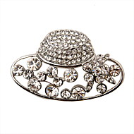Fashion Silver Plated Alloy With Rhinestone Hat Shaped Brooch