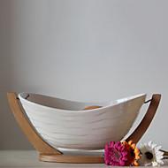 Naturlig Porcelæn frugtkompot med Bamboo Support