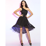 TS Couture® Cocktail Party Dress - High Low Plus Size / Petite Sheath / Column One Shoulder Asymmetrical Chiffon with Draping / Side Draping