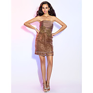 Cocktail Party Dress - Brown Plus Sizes Sheath/Column Strapless Short/Mini Satin/Organza