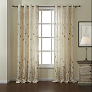 Modern Two Panels Leaf White Living Room Linen/Polyester Blend Panel Curtains Drapes