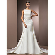 Lanting Bride Trumpet/Mermaid Petite / Plus Sizes Wedding Dress-Chapel Train Bateau Satin
