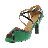 Customizable Women's Dance Shoes Latin/Ballroom Suede Customized Heel Green