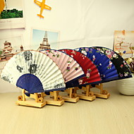 Elegant Floral Bamboo Hand Fan - Set of 4(Mixed Colors,Mixed Floral Pattern)