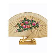 Handfächer(Schwarz) -Blumen Thema-Klassisch-Baumwolle Frühling / Sommer 21cm hoch ×37cm breit 2.4cmx21cmx1cm