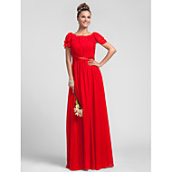 Bridesmaid Dress Floor Length Ruffles Chiffon Sheath Column Square Dress (605534)