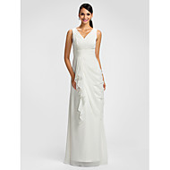 Lanting Bride® Floor-length Chiffon Bridesmaid Dress - Sheath / Column V-neck Plus Size / Petite withDraping / Sash / Ribbon / Criss