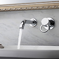 Contemporary Wall Mounted Single Handle Two Holes in Chrome Bathroom Sink Faucet