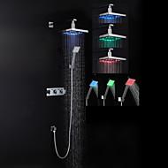 Zeitgenössisch Duschsystem LED / Regendusche / Handdusche inklusive with  Keramisches Ventil Drei Griffe Drei Löcher for  Chrom ,