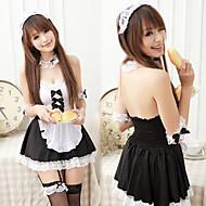 Carino e sexy ragazza in bianco e nero in poliestere cameriera uniforme con nastro