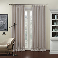 (Two Panels) Modern Beige Solid Energy Saving Lined Curtain