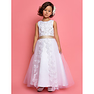 LAN TING BRIDE A-line Princess Ankle-length Flower Girl Dress - Satin Tulle Jewel with Lace Pearl Detailing Sequins