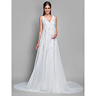 Lan Ting A-line Maternity Wedding Dress - Ivory Court Train V-neck Chiffon/Lace