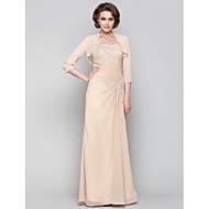 Dress - Champagne Sheath/Column One Shoulder Floor-length Chiffon