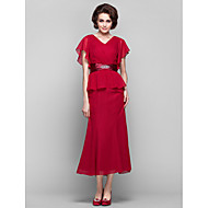 Lanting Sheath/Column Plus Sizes / Petite Mother of the Bride Dress - Ruby Tea-length Short Sleeve Chiffon