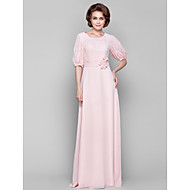 Dress - Pearl Pink Sheath/Column Scoop Floor-length Chiffon