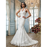 Trumpet/Mermaid Plus Sizes Wedding Dress - Ivory Court Train Halter Tulle