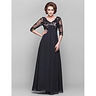 Dress - Black A-line V-neck Floor-length Chiffon/Lace