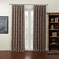 (Two Panels) Mocha Heart Jacquard Lined Blackout Curtain