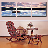 Stretched Canvas Art Landscape Lonely Boat Set of 3