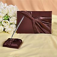 reichen schokoladenbraunen Gästebuch und Pen-Set-Zeichen in Buch