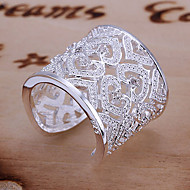 Ring Heart Adjustable Daily Jewelry Sterling Silver Women Statement Rings 1pc,Adjustable Silver