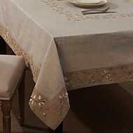 Beige Mélange Lin/Coton Rectangulaire Nappes de table