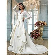 Lanting Bride® A-line Petite / Plus Sizes Wedding Dress - Classic & Timeless / Elegant & Luxurious Vintage Inspired Chapel Train V-neck