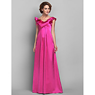 Lanting A-line Plus Sizes / Petite Mother of the Bride Dress - Fuchsia Floor-length Sleeveless Satin