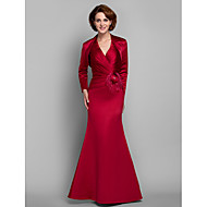 Lanting Trumpet/Mermaid Plus Sizes / Petite Mother of the Bride Dress - Ruby Floor-length Long Sleeve Satin