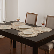 Sarja 5 White Hollow Suunnittelu Table Runner & Placemat