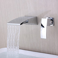 Contemporary Wall Mounted Waterfall with  Ceramic Valve Two Holes Single Handle Two Holes for  Chrome , Bathtub Faucet