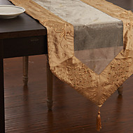 Khaki / Dark Green Polyester Rectangular Table Runners