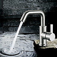 Contemporary Centerset Rotatable with  Ceramic Valve Single Handle One Hole for  Stainless Steel , Bathroom Sink Faucet