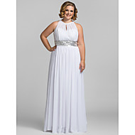 Kappe / Kolonne Høyhals - Formell Aften/Skoleball/Militærball Dress - Hvit Gulvlengde Chiffon Plus Sizes