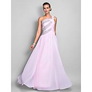 저녁 정장파티/프롬/밀리터리 볼 드레스 - 블러슁 핑크 시스/컬럼 바닥 길이 원 숄더 쉬폰 플러스 사이즈