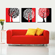 Stretched Canvas Art Abstract Three-color Tree Set of 3