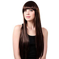 Capless Long sintético Peruca cabelos castanhos lisos completa estrondo