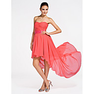 Short/Mini / Asymmetrical Chiffon Bridesmaid Dress - Plus Size / Petite A-line / Princess Strapless / Sweetheart