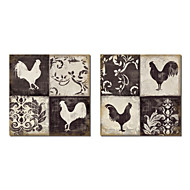Taulupohjat taide Animal Rooster Silhouette by NBL Studio Set 2