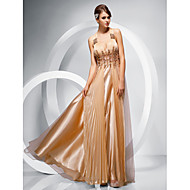 Prom/Military Ball/Formal Evening Dress - Gold Sheath/Column Straps Floor-length Chiffon/Stretch Satin/Tulle