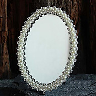 "7.5""Flower Style Round Tin Tabletop Mirror"