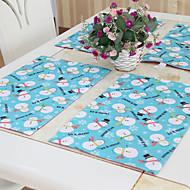 """Bonhommes de neige de Noël Sets de table Set de 6, Polyester, 12 """"* 18"""" 1pc"""