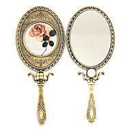 "7"" Flower Painting Antique Brass Style Makeup Mirror"