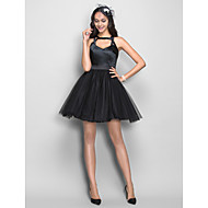 Cocktail Party / Homecoming Dress - Plus Size / Petite A-line Straps Short/Mini Tulle / Stretch Satin